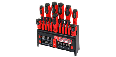 Screwdriver and Bit Set with Rack