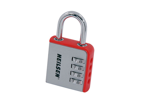 50mm 4 DIGIT COMBINATION PADLOCK PLUS 6FT X 8MM SQUARE LINK CHAIN WITH SLEEVE
